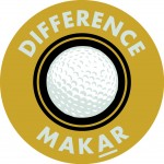 gold round logo with black and ball in center